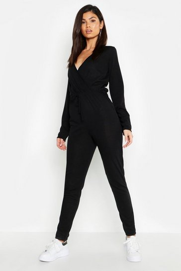 Womens Wrap Tie Waist Knitted Jumpsuit