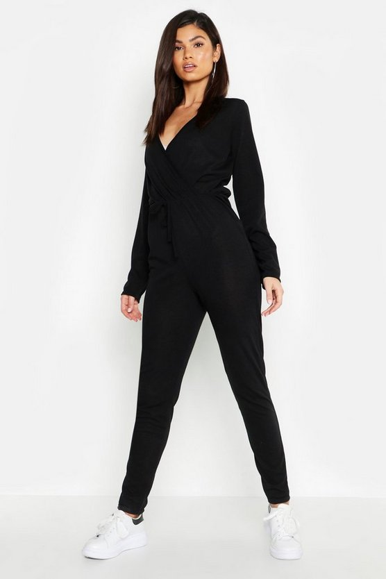 Wrap Tie Waist Knitted Jumpsuit
