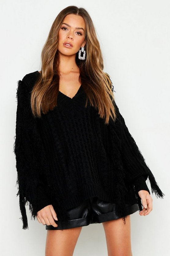 Oversized Fringe Cable Knit Boyfriend Jumper