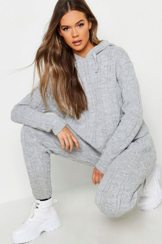 Cable Knit Hooded Loungewear Set