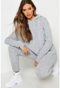 Womens Silver Cable Knit Hooded Loungewear Set