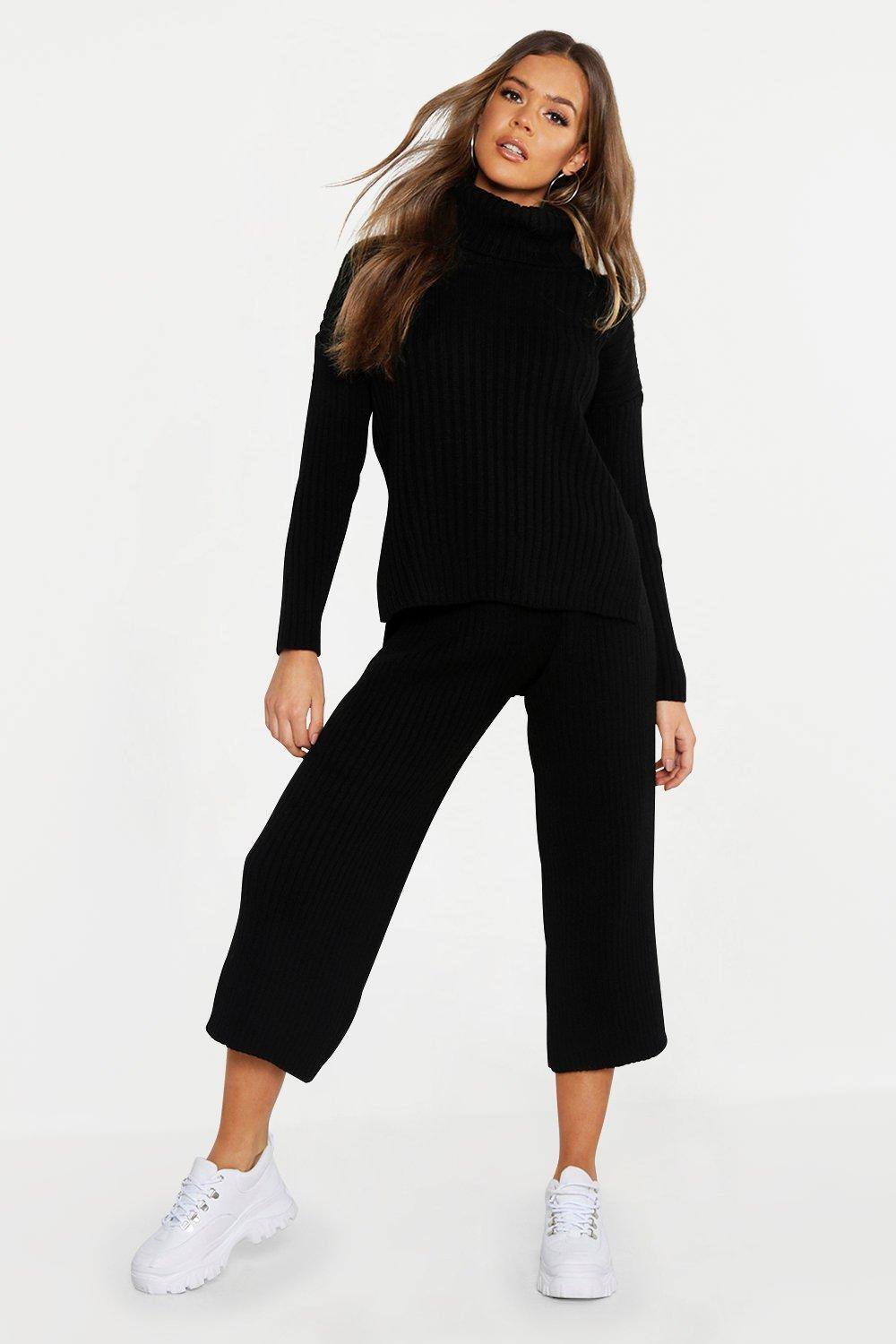 Roll Neck Rib Culotte Knitted Co-Ord