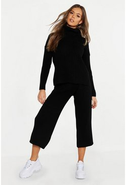 Womens Black Roll Neck Rib Culotte Knitted Co-Ord