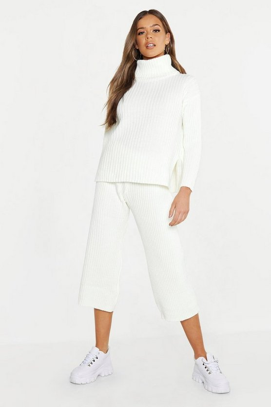 Roll Neck Rib Culotte Knitted Co-Ord, Ecru, ЖЕНСКОЕ