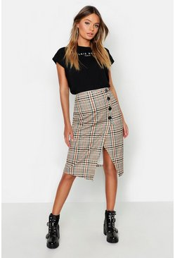 Black Checked Button Front Split Midi Skirt