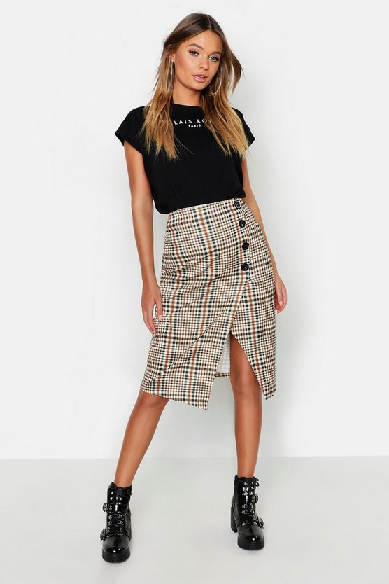 Checked Button Front Split Midi Skirt