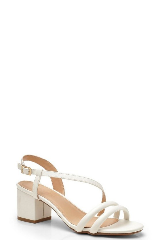 White Tubular Low Block Heels