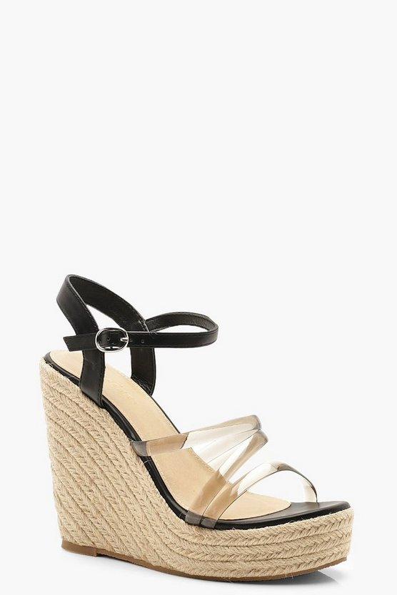 Clear Strap Espadrille Wedges, Black, ЖЕНСКОЕ