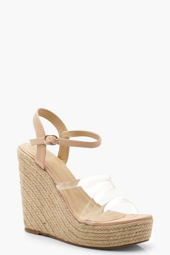 Womens Nude Clear Strap Espadrille Wedges