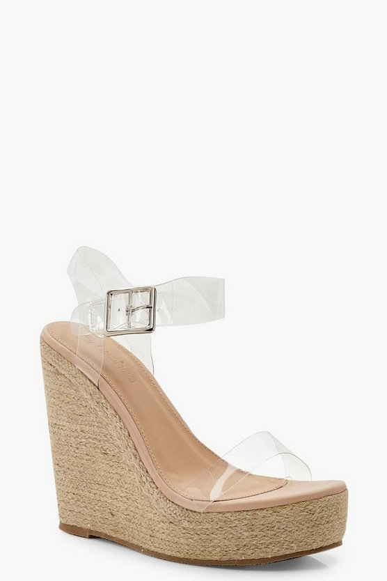 Tan Clear Strap Espadrille Wedges