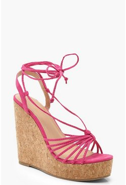 Womens Hot pink Multi Strap Wrap Cork Wedges