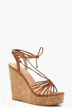 Multi Strap Wrap Cork Wedges, Tan, ЖЕНСКОЕ