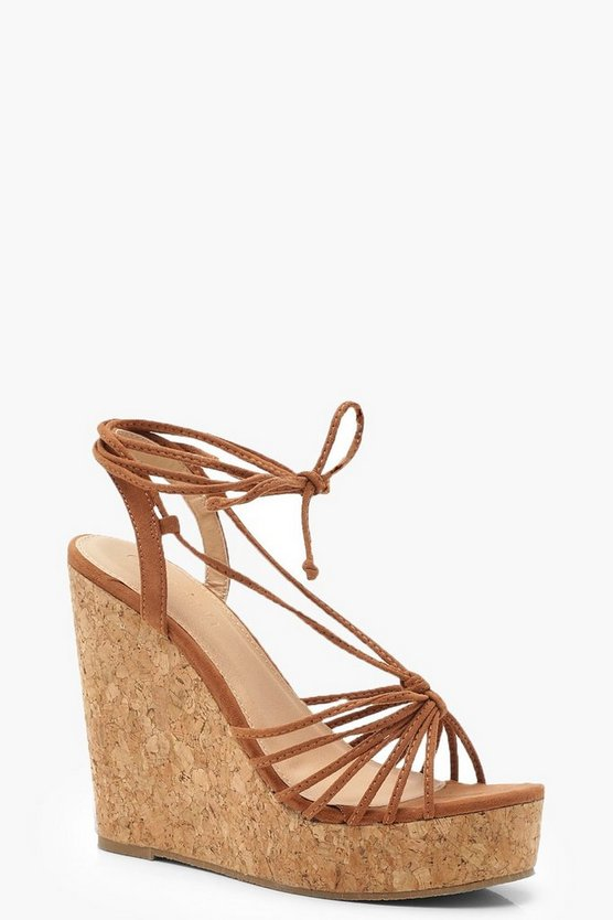 Womens Tan Multi Strap Wrap Cork Wedges
