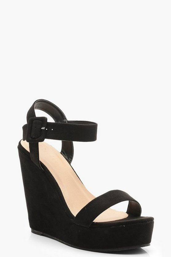 Womens Black 2 Part Wedges