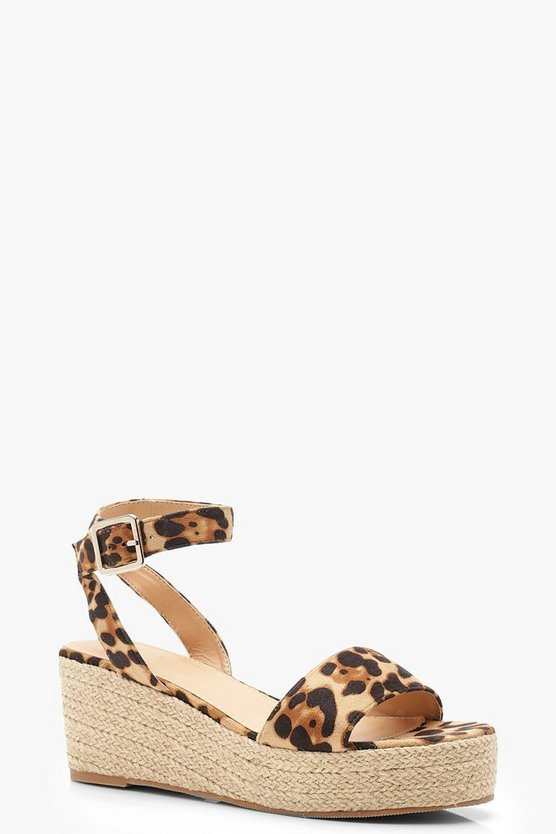 Womens Leopard Low 2 Part Wedges