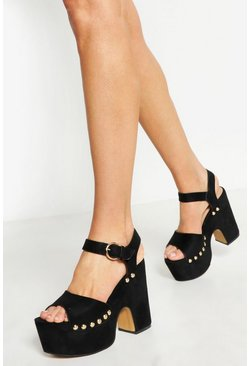 Womens Black High Platform Stud 2 Part Heels