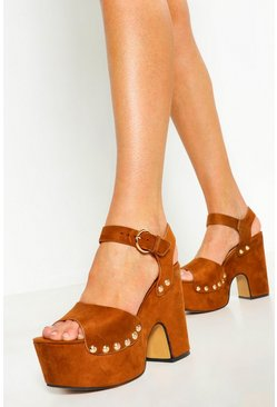 Womens Tan High Platform Stud 2 Part Heels