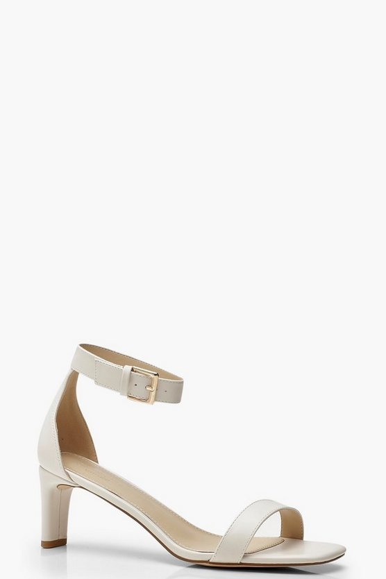 Womens White Flat Low 2 Part Heels