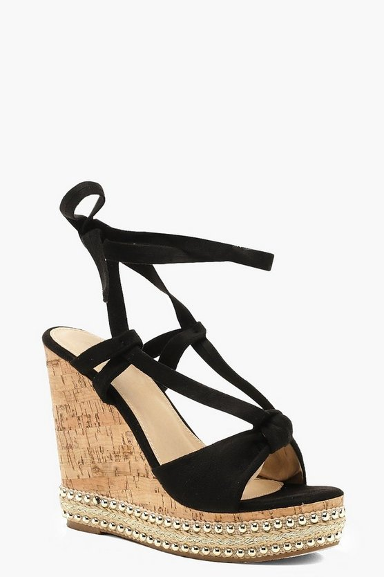 Womens Black Knot Front Wrap Wedges