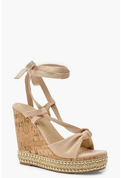 Womens Nude Knot Front Wrap Wedges