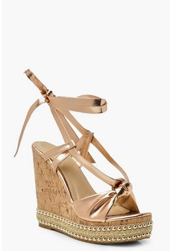 Knot Front Wrap Wedges, Rose gold, ЖЕНСКОЕ