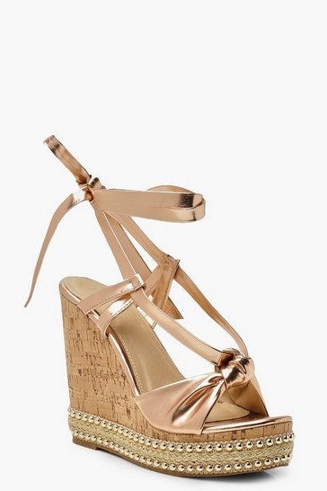 Womens Rose gold Knot Front Wrap Wedges