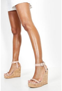 Womens Nude 2 Strap Cork Wedges