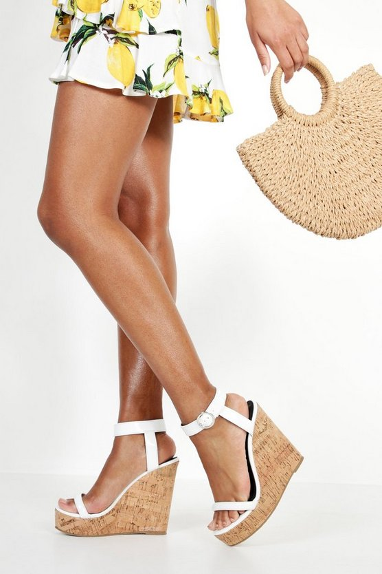 Womens White 2 Strap Cork Wedges