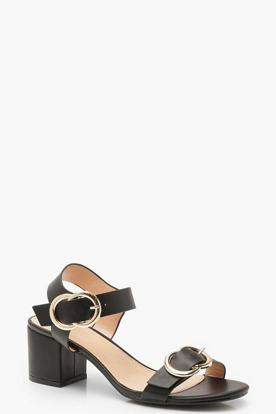 Black Buckle Trim Block Heel 2 Part Heels