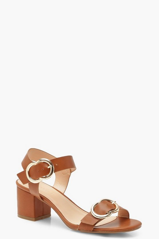 Buckle Trim Block Heels, Tan, ЖЕНСКОЕ