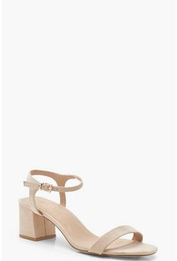 Womens Nude Low Block Heel 2 Part Heels