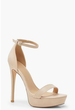 Womens Nude High Platform 2 Part Heels