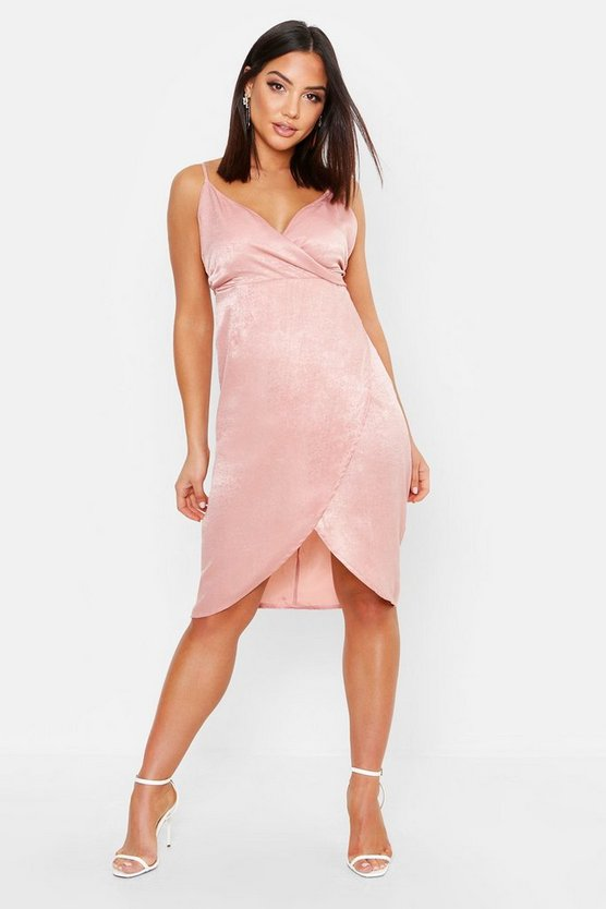 Satin Wrap Over Midi Dress