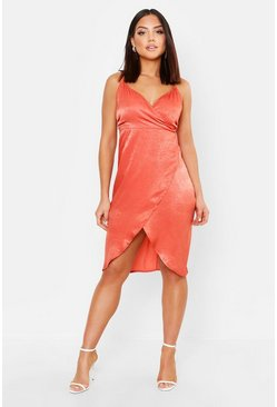 Womens Orange Satin Wrap Over Midi Dress
