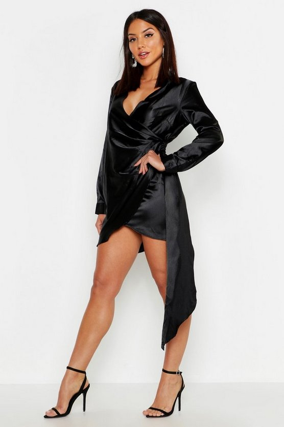 Satin Drape Front Long Sleeve Dress