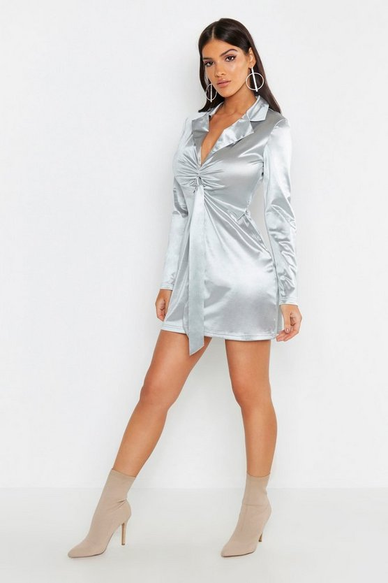 Womens Grey Satin Tie Front Detail Shift Dress