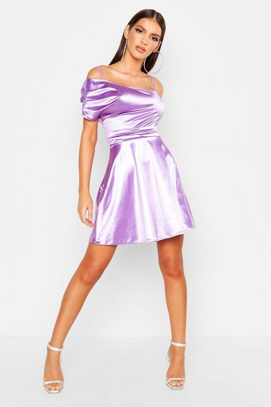 Womens Lilac One Shoulder Pleat Detail Skater Dress