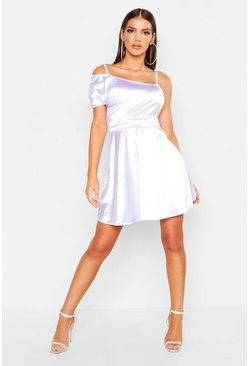 White One Shoulder Pleat Detail Skater Dress