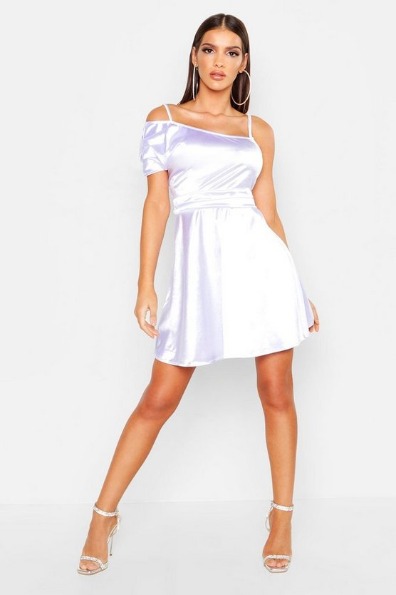 Womens White One Shoulder Pleat Detail Skater Dress
