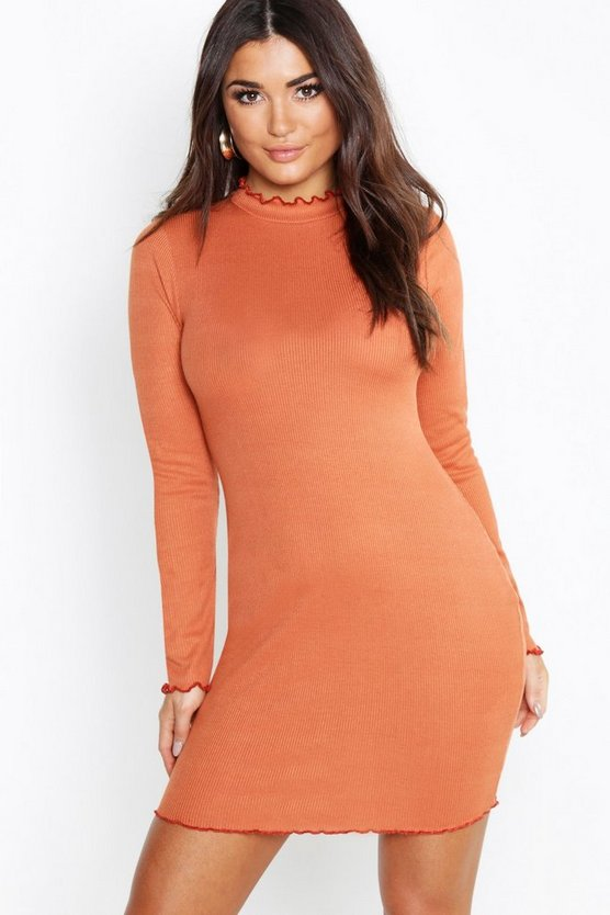 Lettuce Hem Roll Neck Bodycon Dress