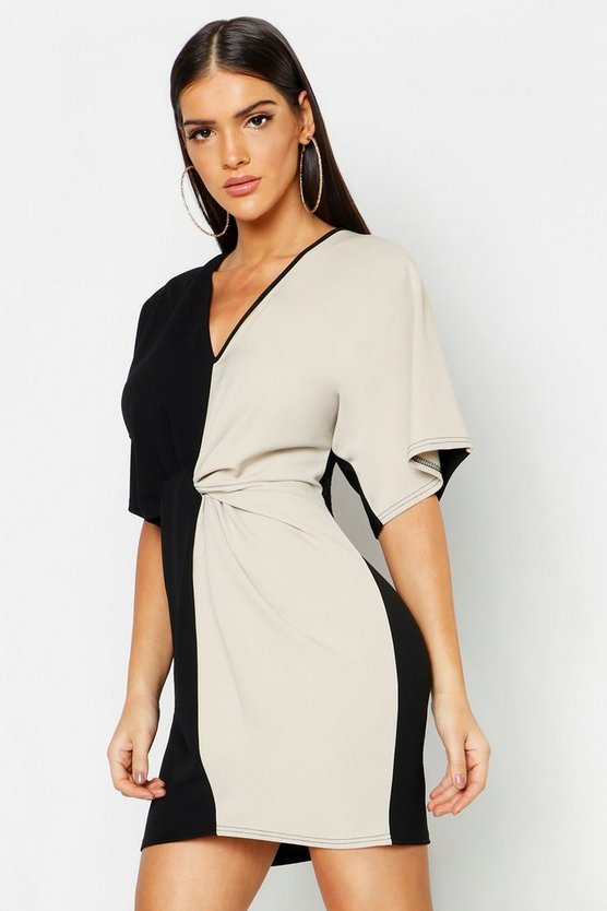 Colour Block Knot Front Bodycon Dress