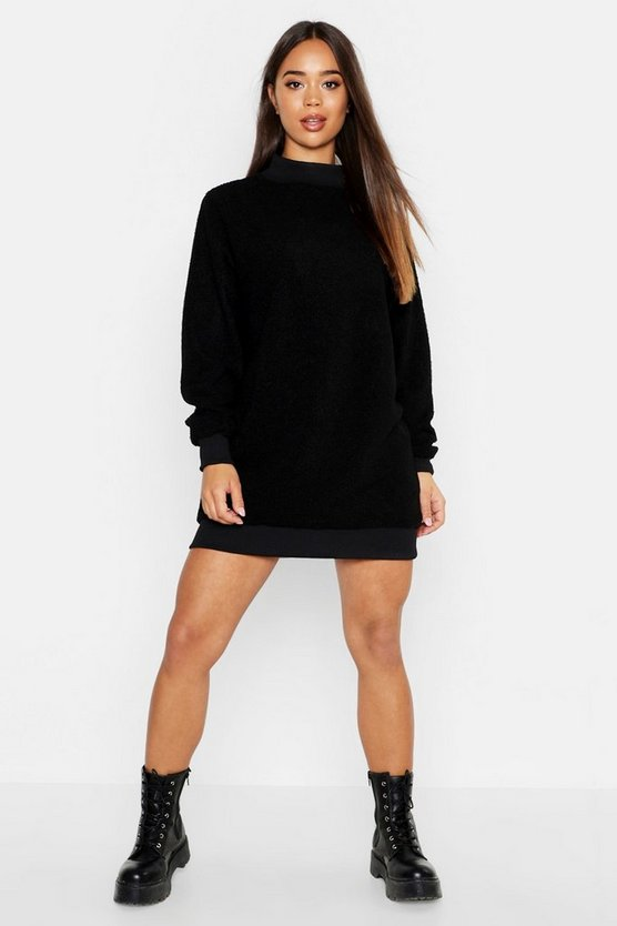 Borg Long Sleeve Sweat Dress, Black, ЖЕНСКОЕ