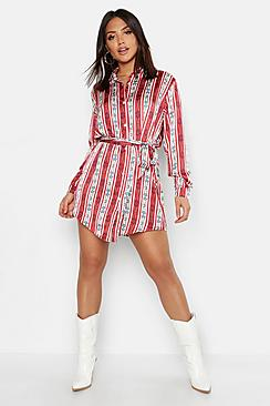 Nautical Chain Print Belted Shirt Dress