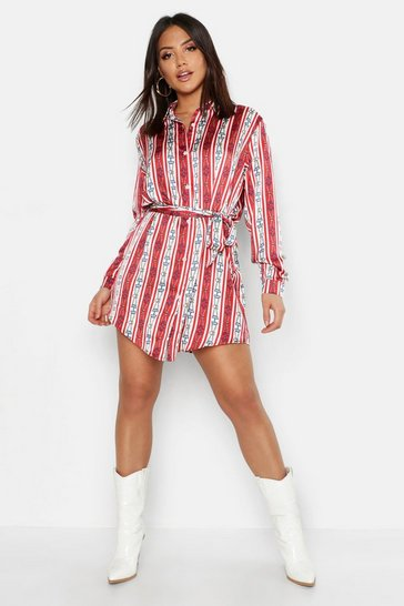 Womens Red Nautical Chain Print Belted Shirt Dress
