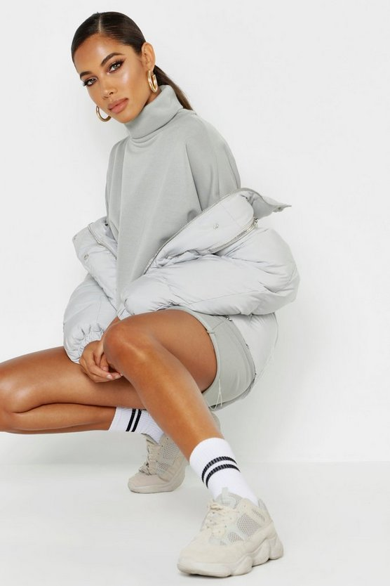 Sage Roll Neck Oversized Sweat Dress