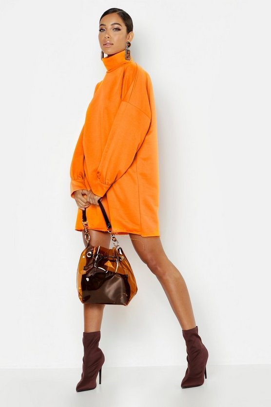 Roll Neck Oversized Sweat Dress, Tangerine, Donna