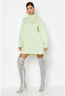 Womens Mint Roll Neck Oversized Sweat Dress