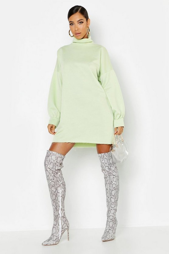Roll Neck Oversized Sweat Dress