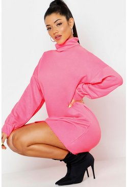 Womens Neon-pink Roll Neck Oversized Sweat Dress