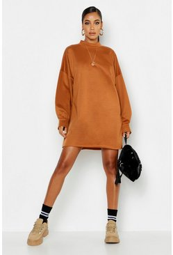 Womens Camel Funnel Neck Oversized Sweat Dress